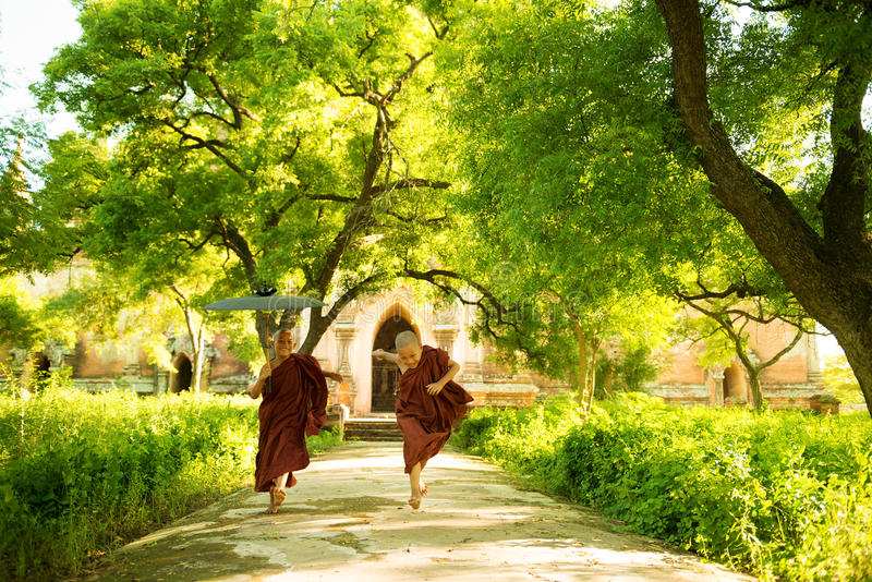 Jeunes moines bouddhistes de novice courant le monastère extérieur photographie stock libre de droits