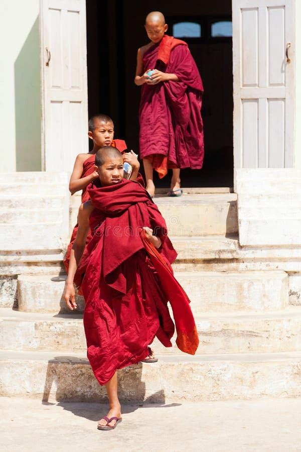 Jeunes moines, Myanmar image stock