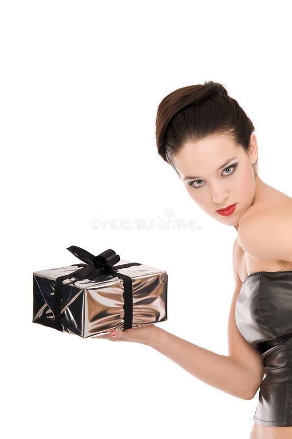 jeunes noirs de femme de fixation de corset de Noël photo libre de droits