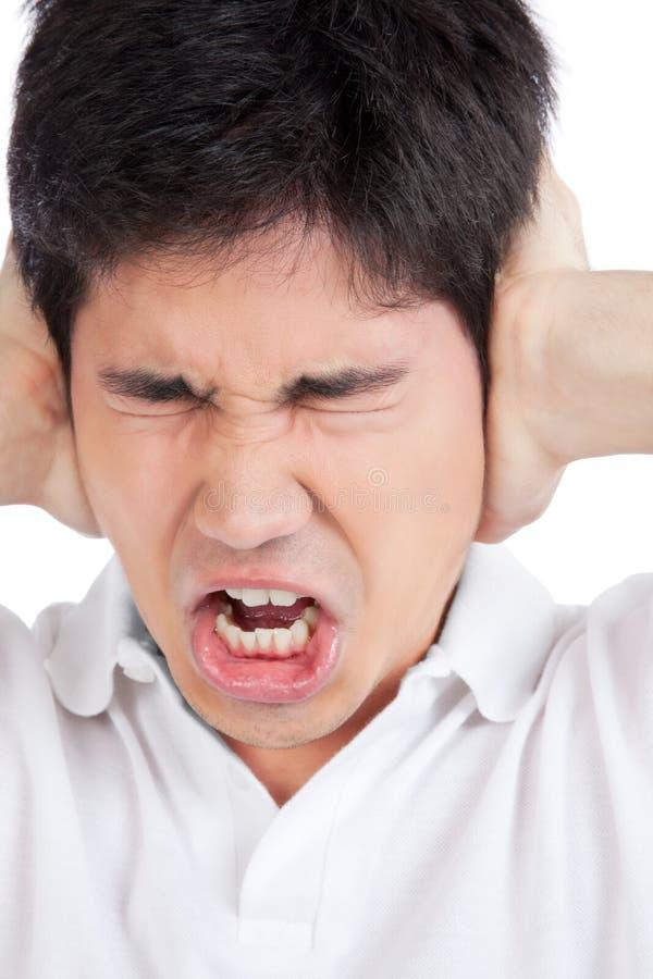 Jeunes oreilles asiatiques de bâche d'homme images libres de droits
