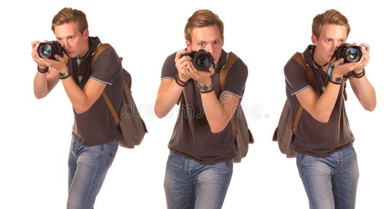 Jeunes paparazzi avec l'appareil-photo photographie stock