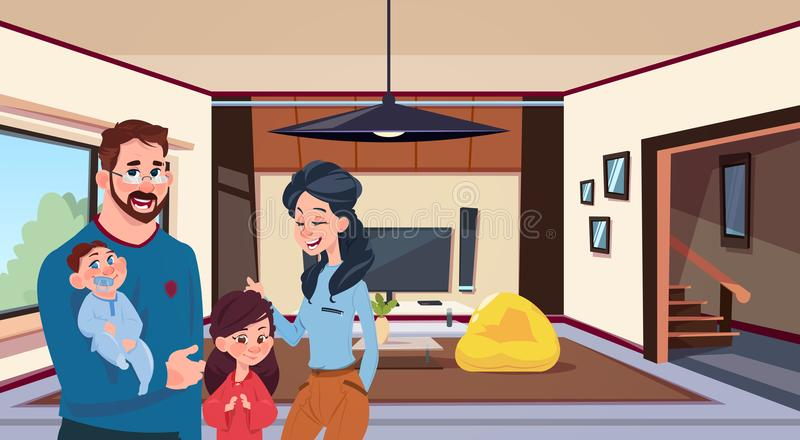 Jeunes parents de famille avec deux enfants dans le salon moderne à la maison illustration stock