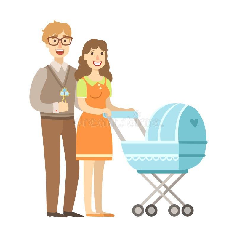 Jeunes parents marchant avec une poussette, illustration de série affectueuse heureuse de familles illustration libre de droits