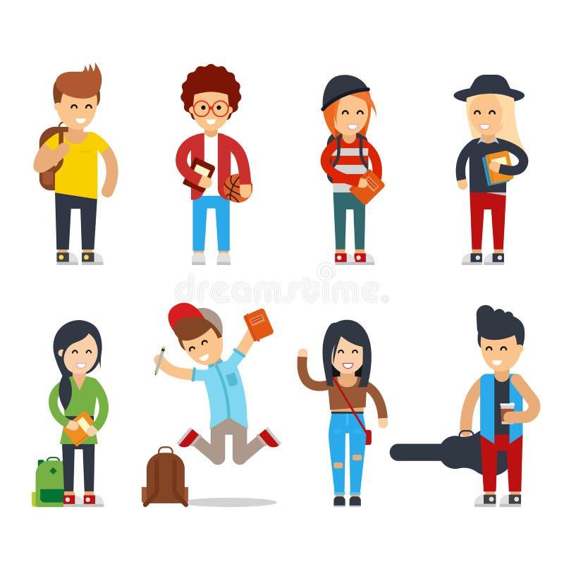 Jeunes personnages de dessin animé d'étudiants Ensemble heureux de vecteur de personnes illustration libre de droits