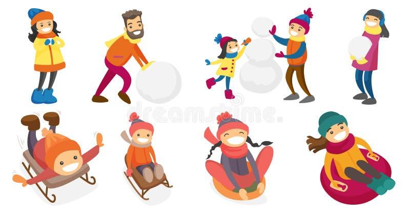 Jeunes personnes de race blanche caucasiennes jouant dans l'ensemble de neige illustration stock