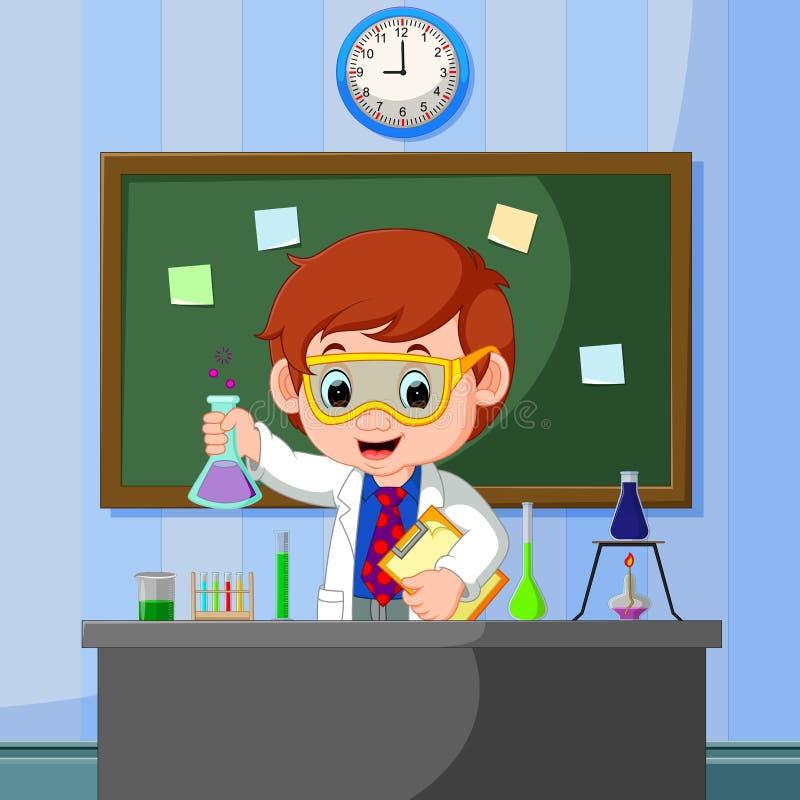 Jeunes points de scientifique au tableau et au sourire illustration de vecteur