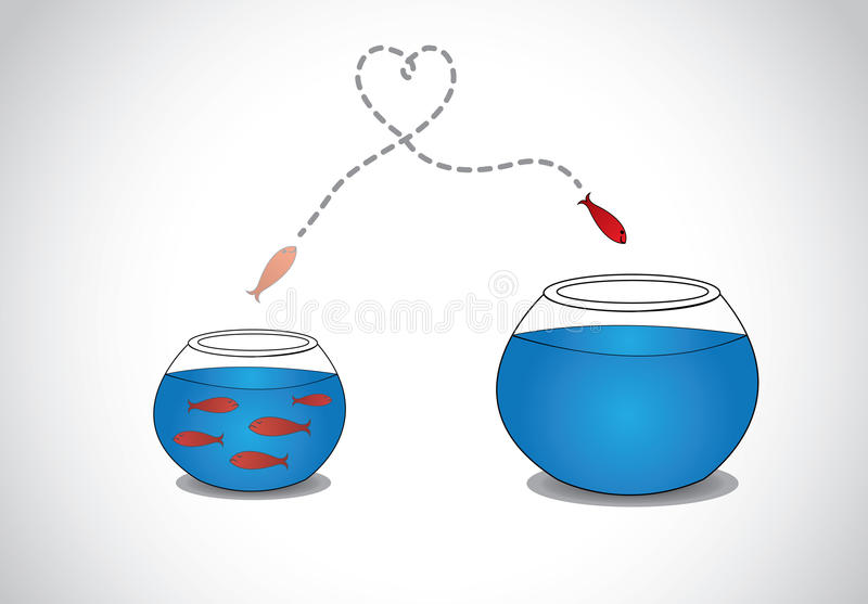 Jeunes poissons vigilants s'échappant du petit bol en verre serré à grand illustration stock