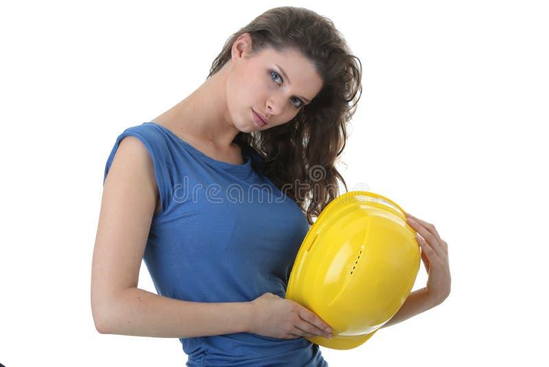 jeunes sexy de travailleuse d'entrepreneur de construction photos stock