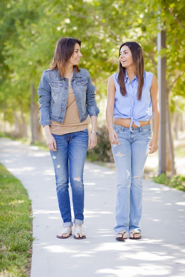Jeunes soeurs adultes de jumeau de métis marchant ensemble image stock