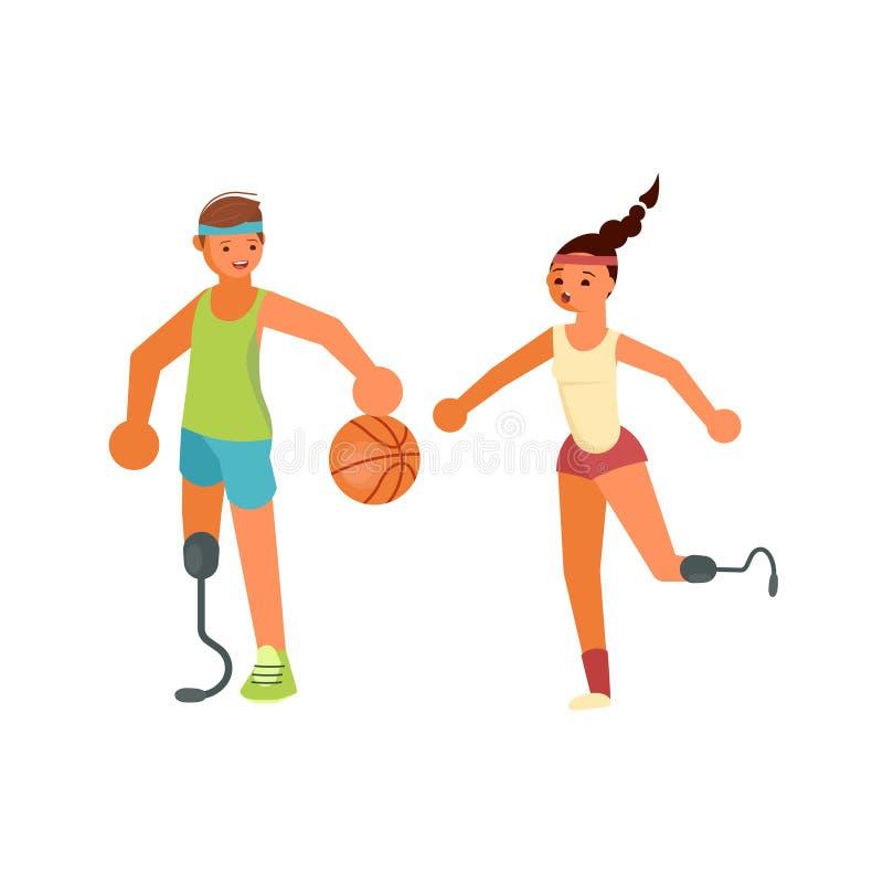 Jeunes sportsmans handicapés jouant au basket-ball illustration stock
