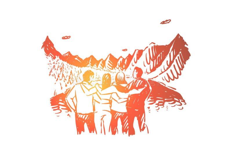 Jeunes touristes appréciant la vue, hommes et femmes étreignant, récréation active en montagnes, forêt d'arbre de sapin, tourisme illustration de vecteur