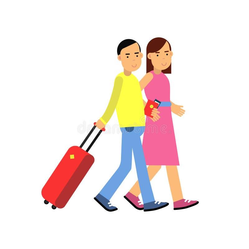 Jeunes touristes de couples marchant à l'aéroport avec le bagage, les passeports et les billets dans des mains, déplacement de fa illustration stock