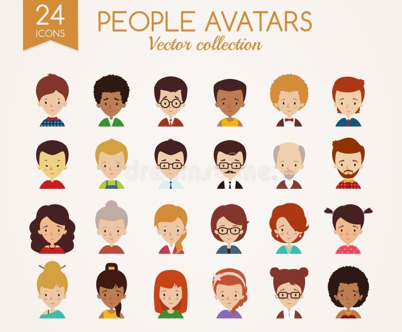 Jeunes visages adultes Ensemble d'avatars de vecteur illustration stock