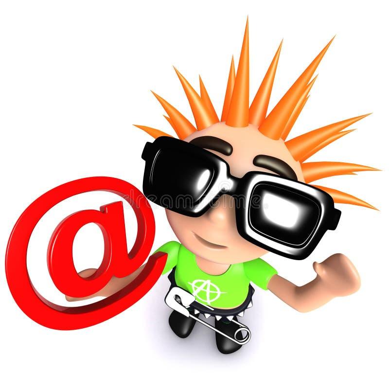 jeunesse punk de la bande dessinée 3d drôle tenant un symbole d'adresse e-mail illustration libre de droits