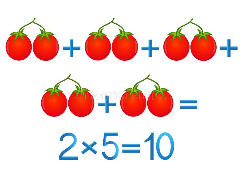 Jeux éducatifs pour des enfants, action de multiplication, exemple avec des tomates illustration libre de droits