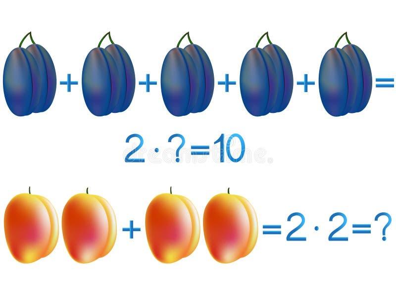 Jeux éducatifs pour des enfants, l'action de multiplication, l'exemple avec des prunes et des pêches illustration libre de droits