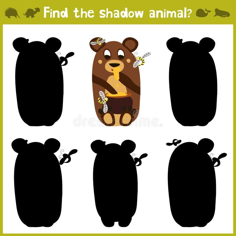 Jeux éducatifs pour les enfants, bande dessinée pour des enfants d'âge préscolaire Trouvez la nuance droite pour un ours avec du  illustration stock