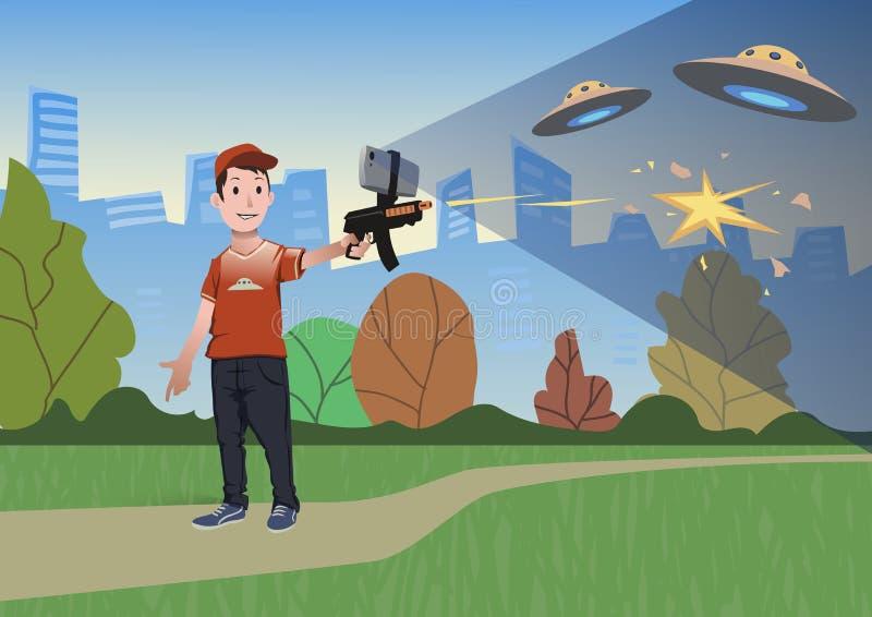 Jeux augmentés de réalité Garçon avec l'arme à feu de l'AR jouant un tireur Arme de jeu avec le téléphone portable Illustration d illustration de vecteur