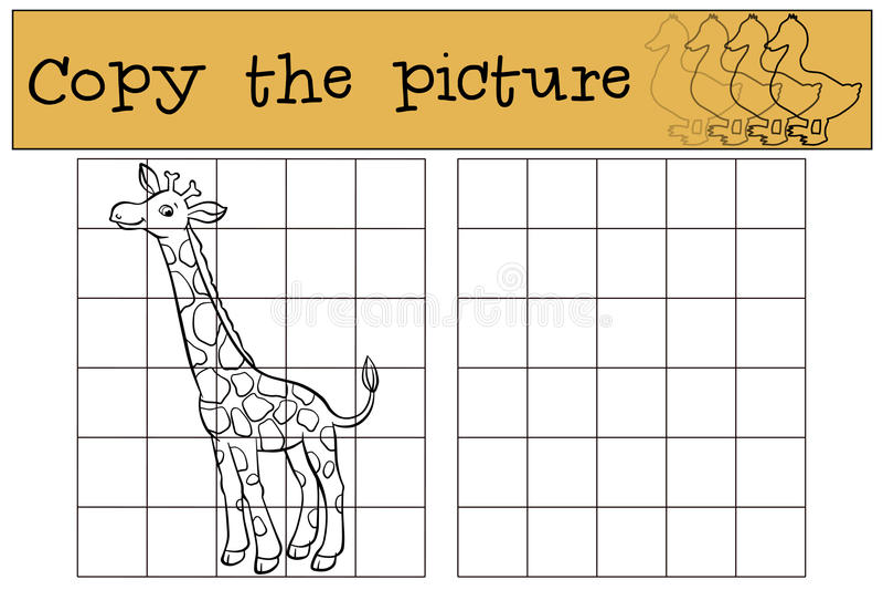 Jeux d'enfants : Copiez la photo Petite giraffe mignonne illustration libre de droits