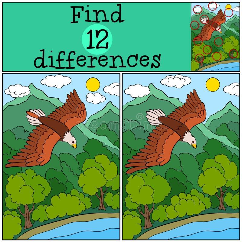 Jeux d'enfants : Différences de découverte Vol mignon d'aigle chauve sous la forêt illustration libre de droits