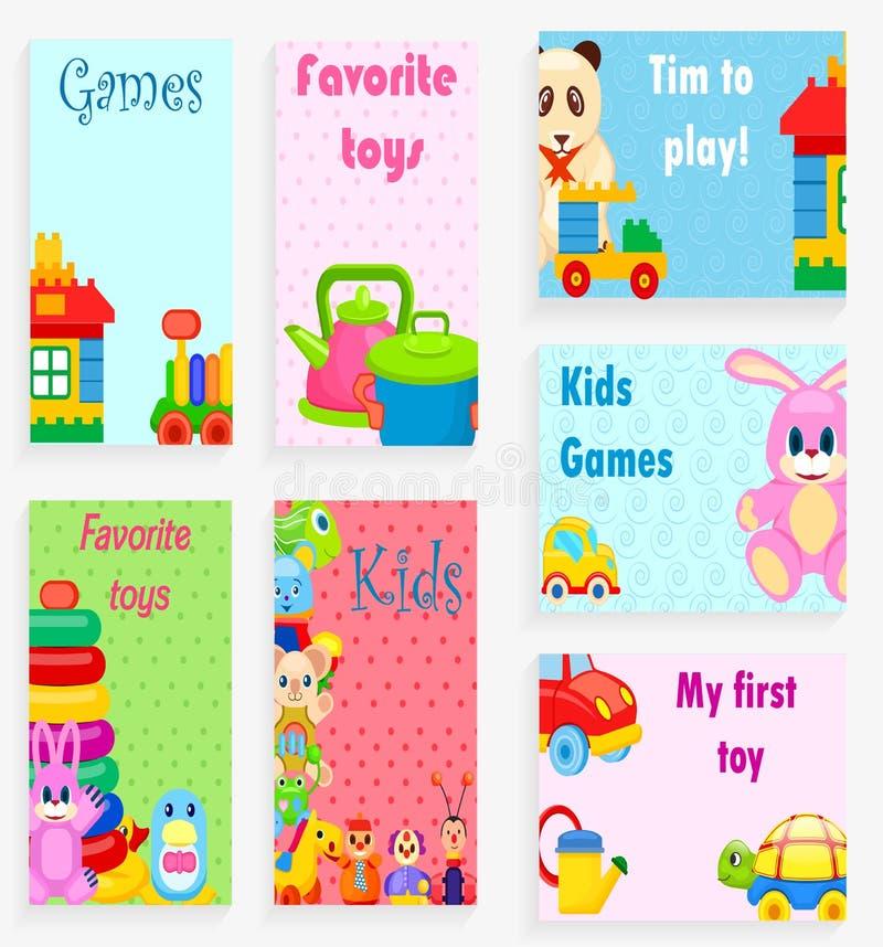 Jeux d'enfants et illustrations de jouets de favori réglées illustration stock