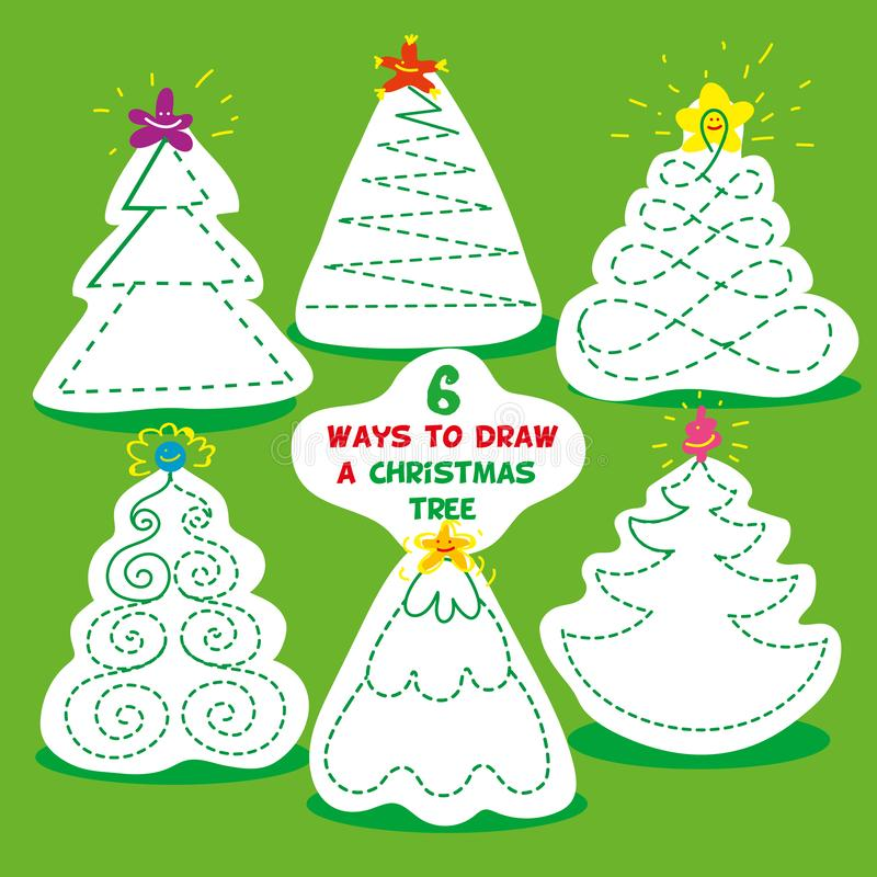 Jeux d'enfants six manières différentes de dessiner l'arbre de Noël Crayon d'utilisation et dessiner chaque arbre de Noël de mani illustration de vecteur