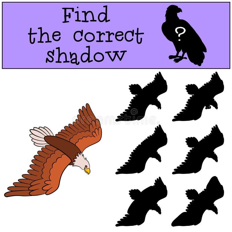 Jeux d'enfants : Trouvez l'ombre correcte Aigle chauve mignon de vol illustration libre de droits