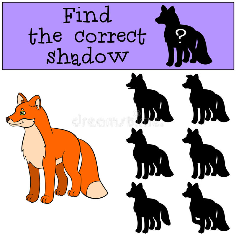 Jeux d'enfants : Trouvez l'ombre correcte Petits sourires mignons de renard illustration stock