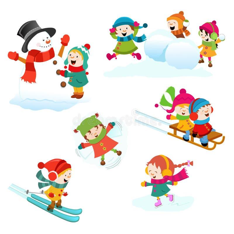 Jeux d'hiver réglés illustration stock