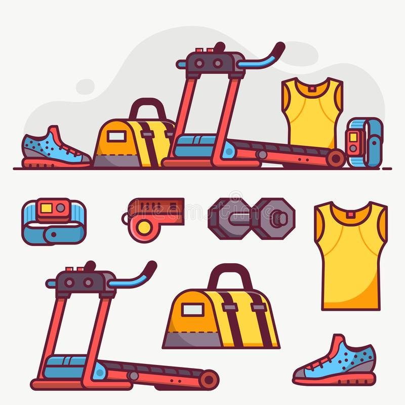 Jeux d'icônes Sport Running and Fitness Lifestyle Set illustration libre de droits