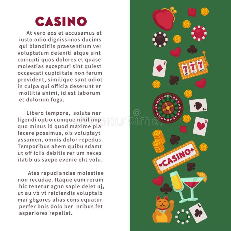 Jeux de carte de jeu de jeu de club de casino roulette et machines de fruit illustration stock
