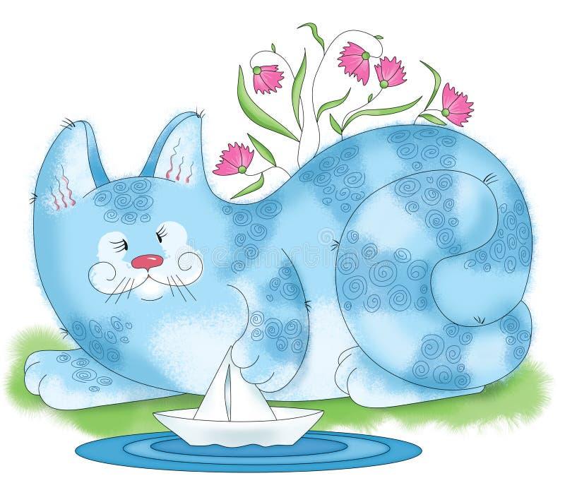 Jeux de grand chat avec un bateau photos stock