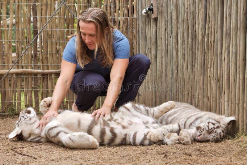 Jeux de jeune homme avec l'petit animal de tigre photo stock