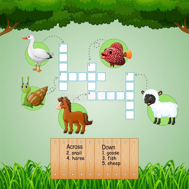 Jeux de mots croisé de la ferme d'animaux pour des jeux d'enfants illustration libre de droits