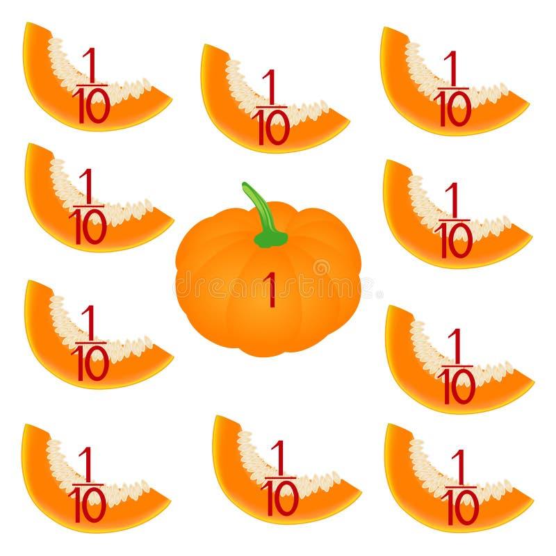 Jeux mathématiques pour des enfants Étudiez les nombres de fractions, exemple avec d'un potiron illustration libre de droits