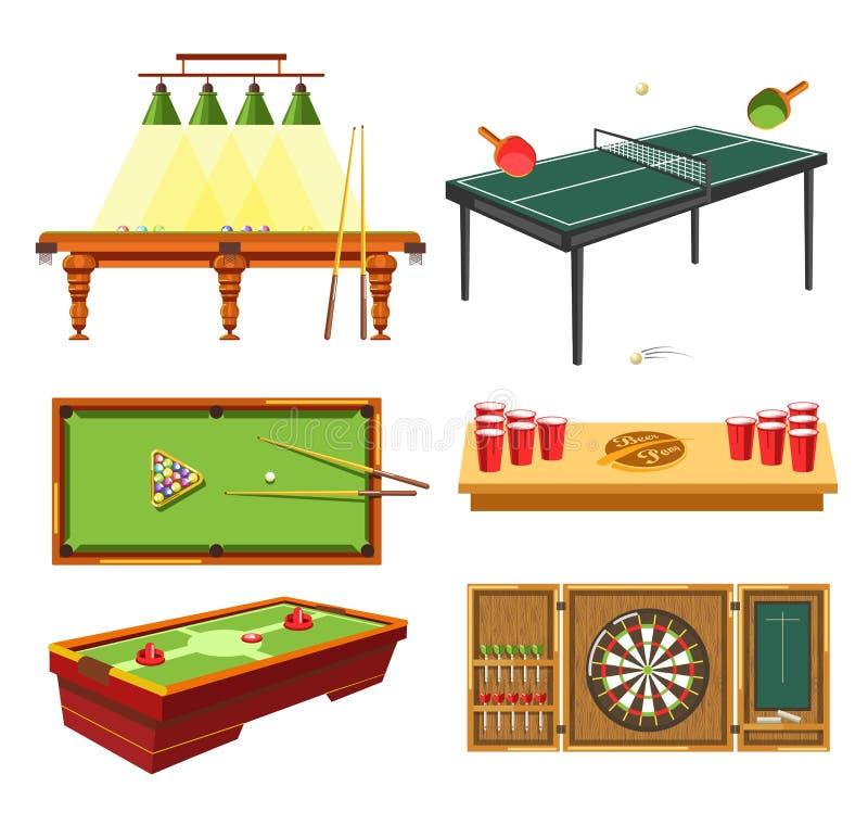 Jeux sur le ping-pong de table et de piscine ou de billard de dards illustration stock