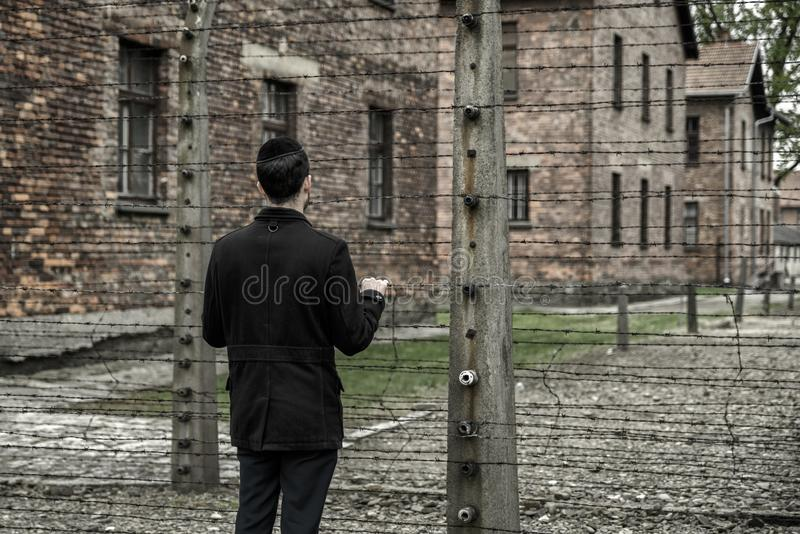 Jew looking through Barbed wire in concentration camp Auschwitz, Poland royalty free stock photo