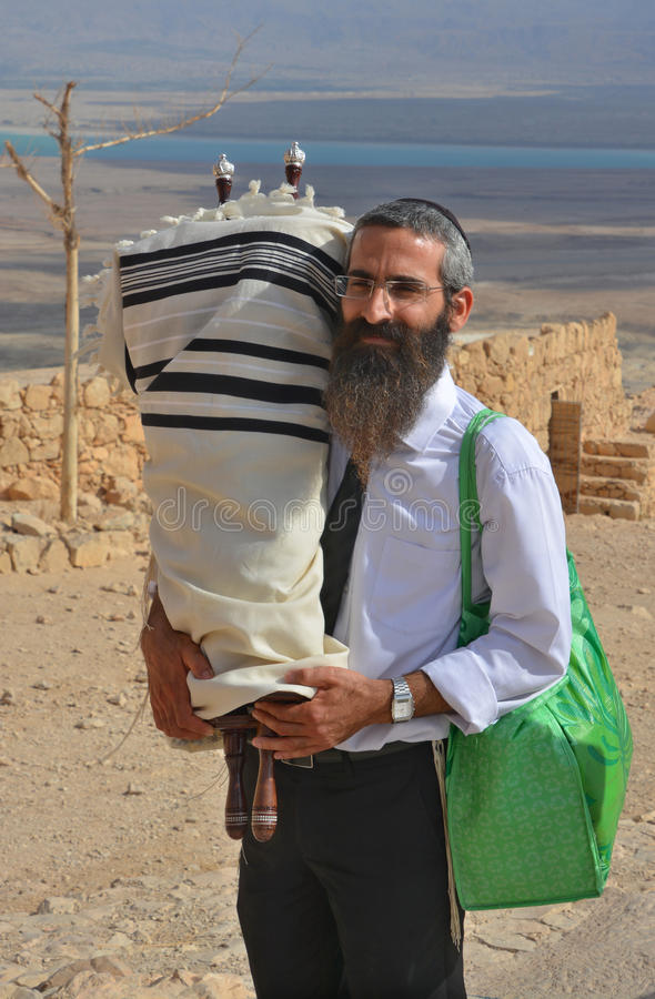 Rabbi. MASADA ISRAEL 04 11 16: Jews come to the desert fortress of Masada from every corner of the globe to celebrate the seminal rite of passage of their sons stock image