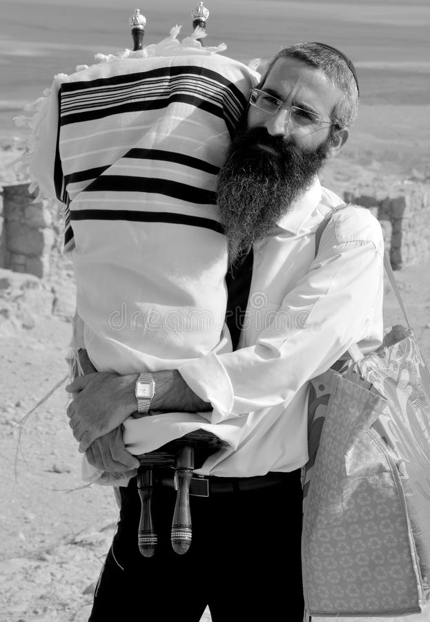 Rabbi. MASADA ISRAEL 04 11 16: Jews come to the desert fortress of Masada from every corner of the globe to celebrate the seminal rite of passage of their sons royalty free stock photography