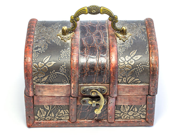Jewel box. Front view of jewel box with handle open stock photo