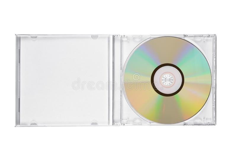 Jewel case with compact disc isolated. Opened jewel CD case with compact disc isolated on white background. Top view royalty free stock photos