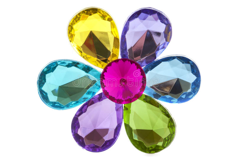 Jewel flower. Colorful jewels as a flower isolated over white stock photo