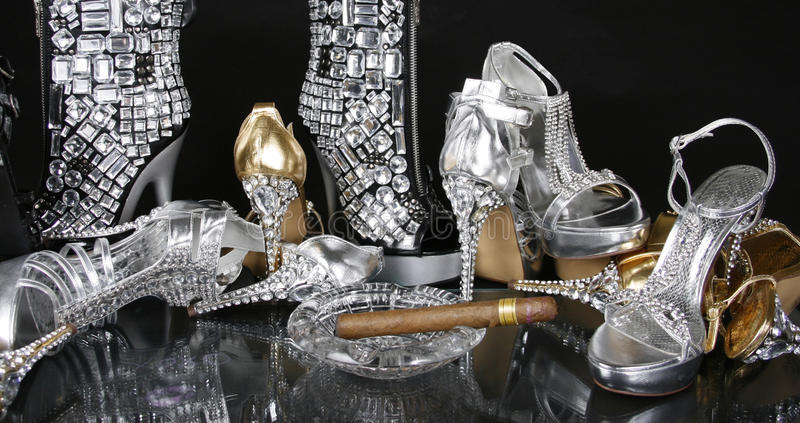 Download Jeweled Gold And Silver Shoes Stock Image - Image: 20796125