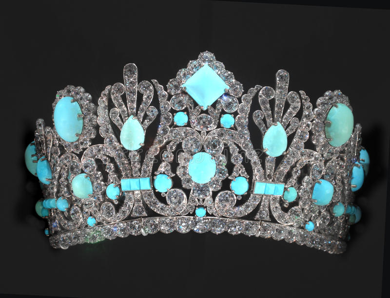 Jeweled Tiara isolated. Tiara decorated with many diamonds and precious stones. Isolated on black royalty free stock images