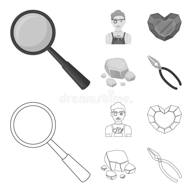 Jeweler, πένσες, χρυσό μετάλλευμα, γρανάτης υπό μορφή καρδιάς Τα πολύτιμα μεταλλεύματα και jeweler θέτουν τα εικονίδια συλλογής σ απεικόνιση αποθεμάτων