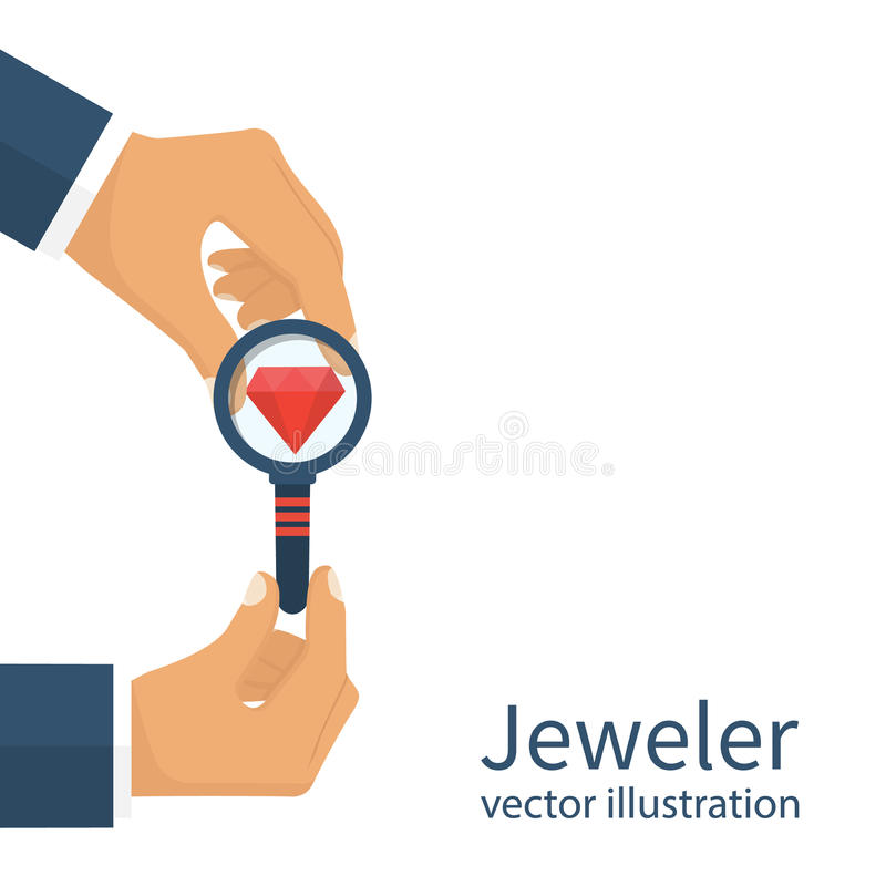 Jeweler που φαίνεται διαμάντι ελεύθερη απεικόνιση δικαιώματος