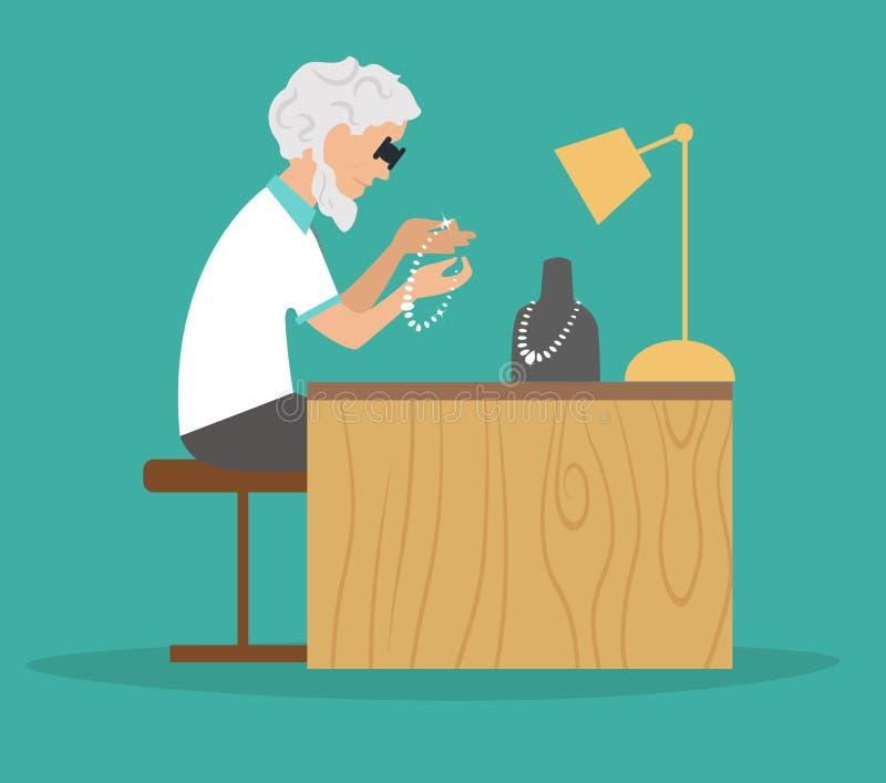 Jeweler στην εργασία Θέση εργασίας, απεικόνιση αποθεμάτων