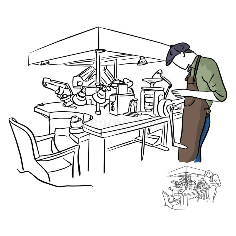 Jeweler working in jewelery shop vector illustration sketch dood. Le hand drawn with black lines isolated on white background stock illustration