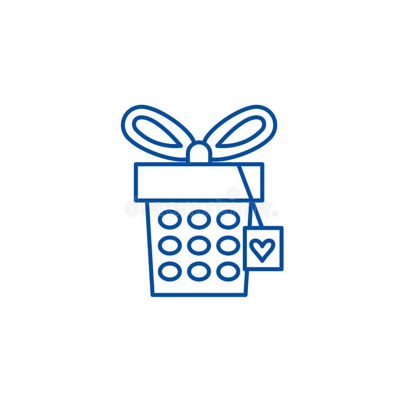 Jewelery box line icon concept. Jewelery box flat  vector symbol, sign, outline illustration. Jewelery box line concept icon. Jewelery box flat  vector website stock illustration