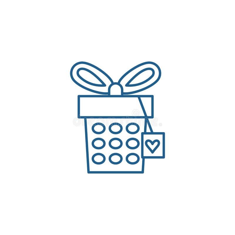 Jewelery box line icon concept. Jewelery box flat  vector symbol, sign, outline illustration. Jewelery box line concept icon. Jewelery box flat  vector website royalty free illustration